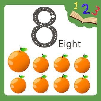 Ilustrador de oito número laranja