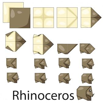 Ilustrador de origami de rinoceronte