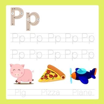 Ilustrador de p exercício az vocabulário de desenhos animados