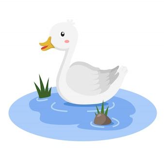 Ilustrador de pato na banheira