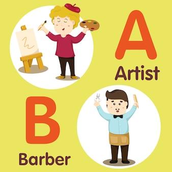 Ilustrador de personagem profissional artista e barbeiro