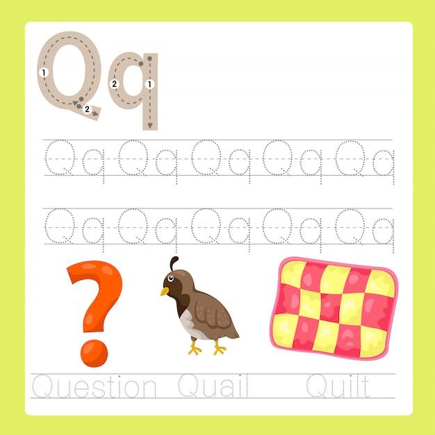 Ilustrador de q exercício vocabulário de desenhos animados az