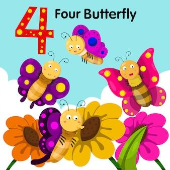 Ilustrador de quatro borboletas