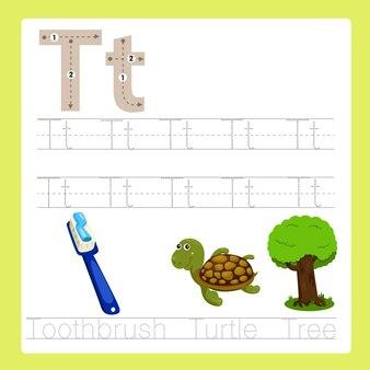 Ilustrador de t exercício az vocabulário dos desenhos animados