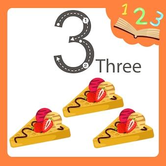 Ilustrador de três waffles números