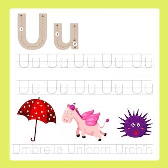 Ilustrador de u exercício vocabulário de desenhos animados az