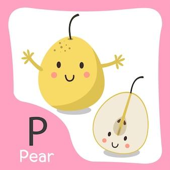 Ilustrador de um alfabeto fofo de fruta pera