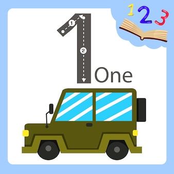 Ilustrador de um carro de jipe de número