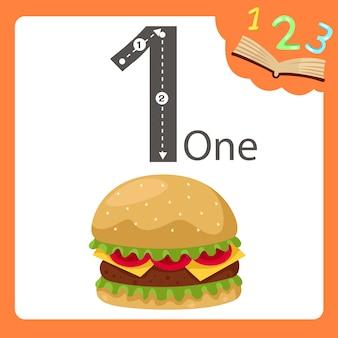 Ilustrador, de, um, numere hamburger