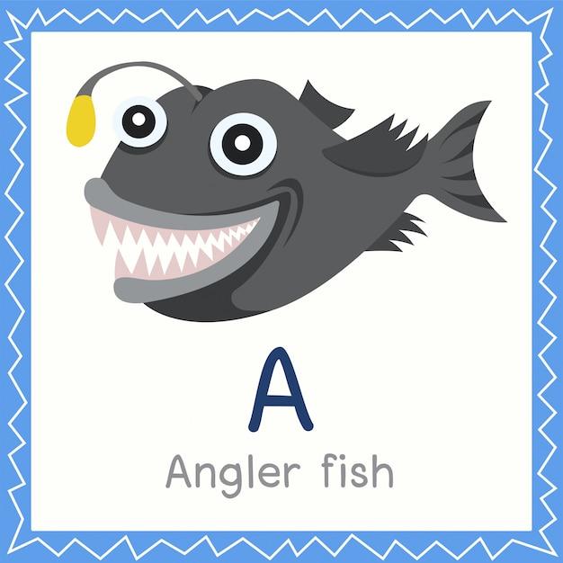 Ilustrador, de, um, para, peixe pescador, animal