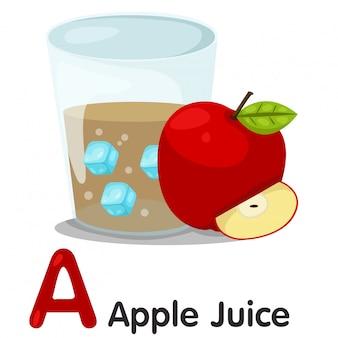 Ilustrador de uma fonte de suco de maçã