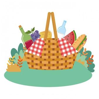 Ilustrador de vetor de cesta de piquenique isolado