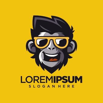 Ilustrador de vetor de design de logotipo legal macaco