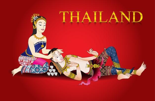 Ilustrador de vetor de fundo vintage massagem tailandesa