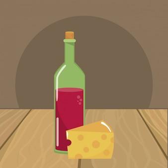Ilustrador de vetor de garrafa de vinho isolado