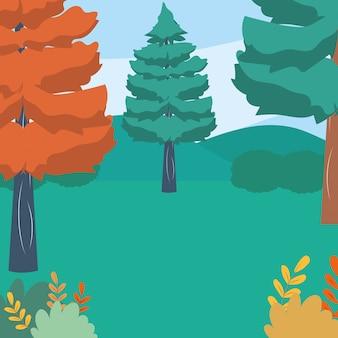 Ilustrador de vetor de pinheiros naturais