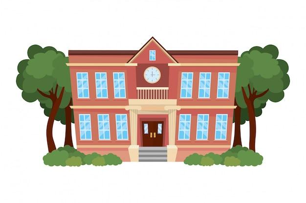 Ilustrador de vetor de projeto de edifício de escola