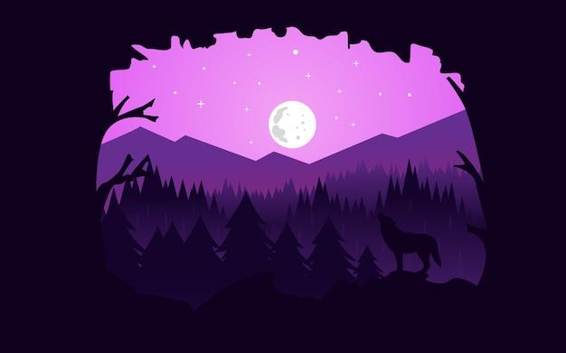 Ilustrador de vetor: flat paisagem noite floresta