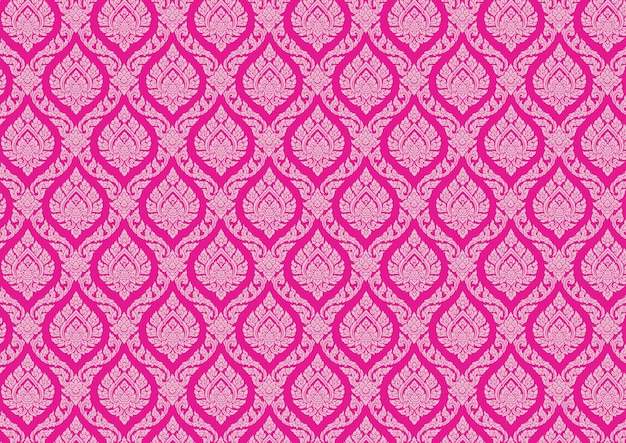 Ilustrador de vetor rosa vintage padrão tailandês