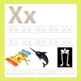 Ilustrador de x exercício vocabulário de desenhos animados az
