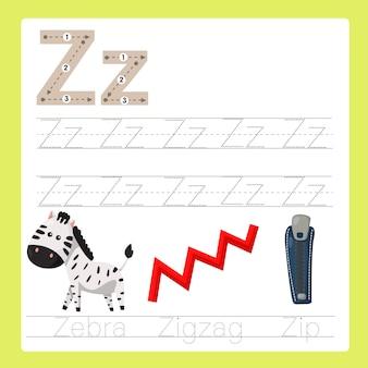 Ilustrador de z exercício vocabulário de desenhos animados az