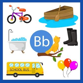 Ilustrador do alfabeto b para crianças