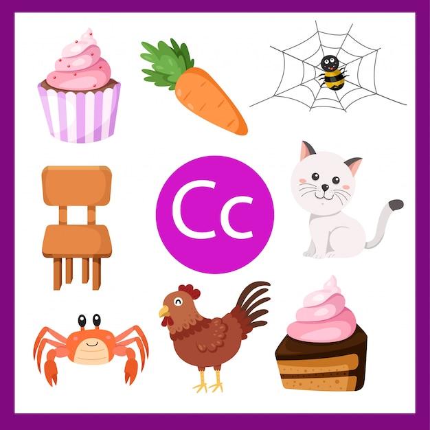 Ilustrador do alfabeto c para crianças