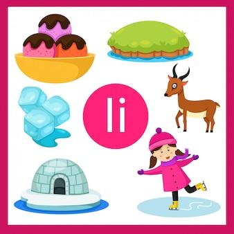 Ilustrador do alfabeto i para crianças