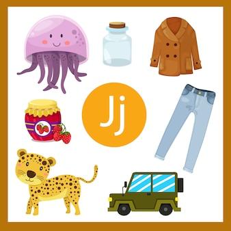 Ilustrador do alfabeto j para crianças
