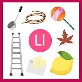 Ilustrador do alfabeto l para crianças
