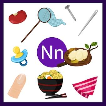 Ilustrador do alfabeto n para crianças