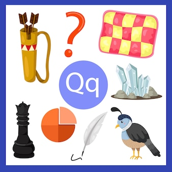 Ilustrador do alfabeto q para crianças