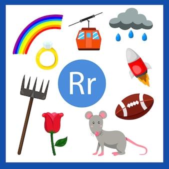 Ilustrador do alfabeto r para crianças