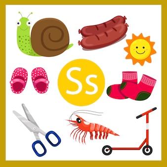 Ilustrador do alfabeto s para crianças