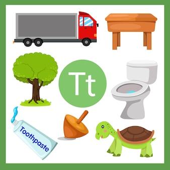 Ilustrador do alfabeto t para crianças