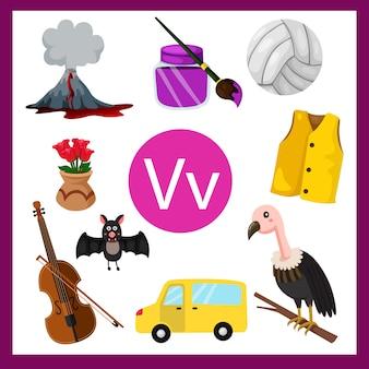 Ilustrador do alfabeto v para crianças