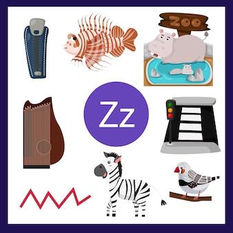 Ilustrador do alfabeto z para crianças