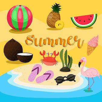 Ilustrador do conjunto de verão