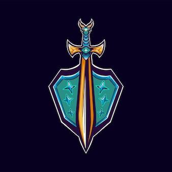 Ilustrador do logotipo do escudo da espada, mascote