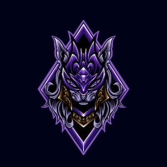 Ilustrador do logotipo mascote da menina do gato roxo