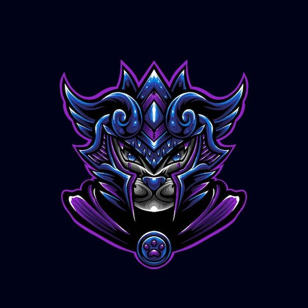 Ilustrador do mascote do logotipo do gato roxo do guerreiro