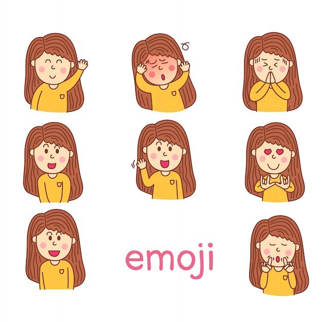 Ilustrador do meu rosto emoji menina