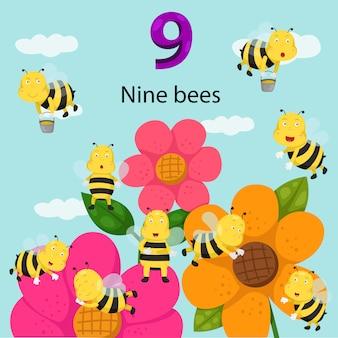 Ilustrador do número nove abelhas
