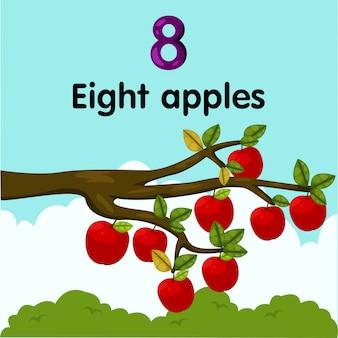 Ilustrador do número oito maçãs