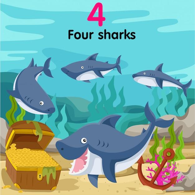 Ilustrador do número quatro tubarões