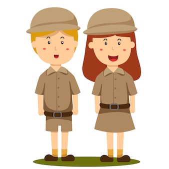 Ilustrador do zoológico detentor menino e menina