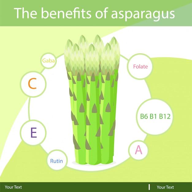 Ilustrador dos benefícios dos espargos