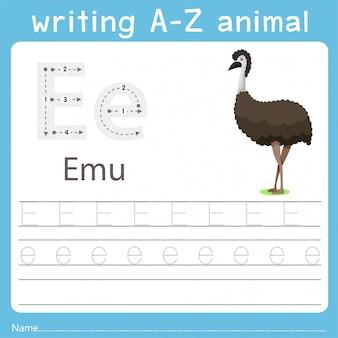 Ilustrador, escrita, az, animal, de, emu
