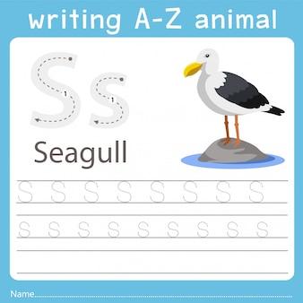 Ilustrador, escrita, az, animal, de, gaivota