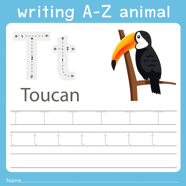 Ilustrador, escrita, az, animal, de, tucano